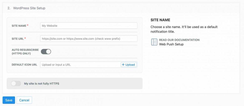 OneSignal'da WordPress site kurulumu