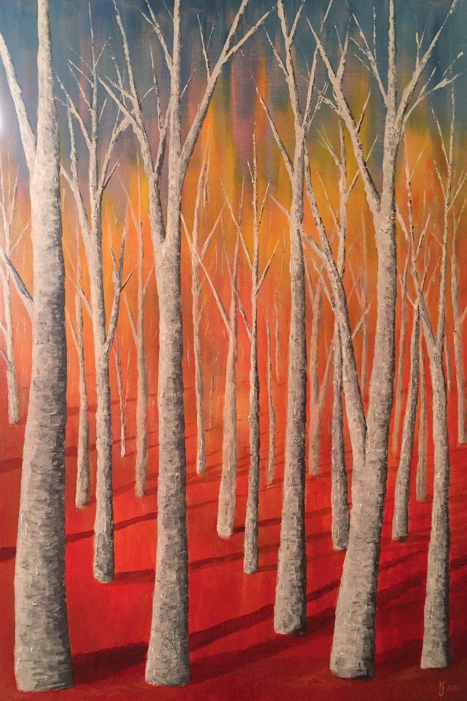 Ozarks Art Gallery | Autumn Aspens - Original Modern Contemporary Landscape Painting by KJ Burk