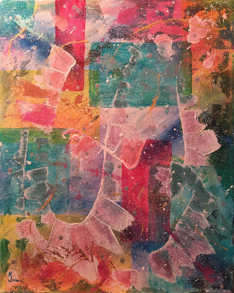 Ozarks Art Gallery | Mardi Gras - Original Abstract Painting by KJ Burk