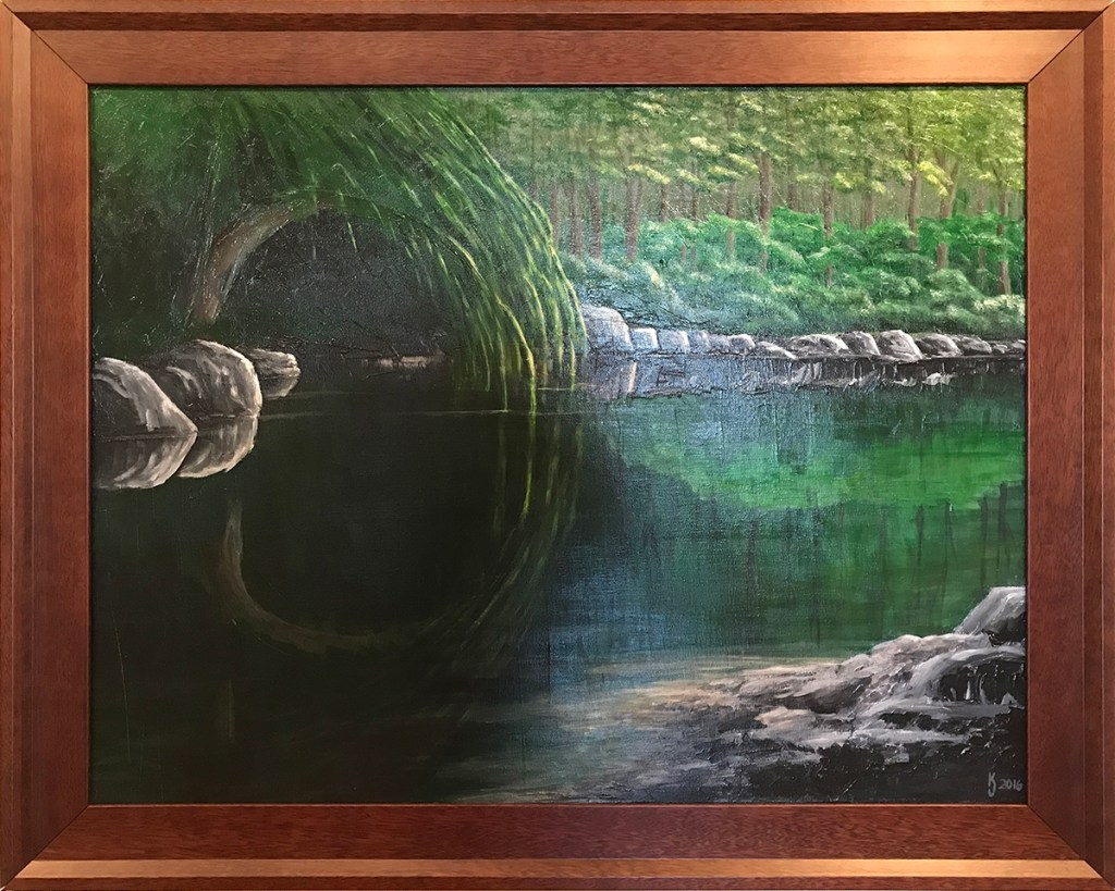 Ozarks Art Gallery | Still Waters Run Deep - Original Textured Landscape Painting by KJ Burk