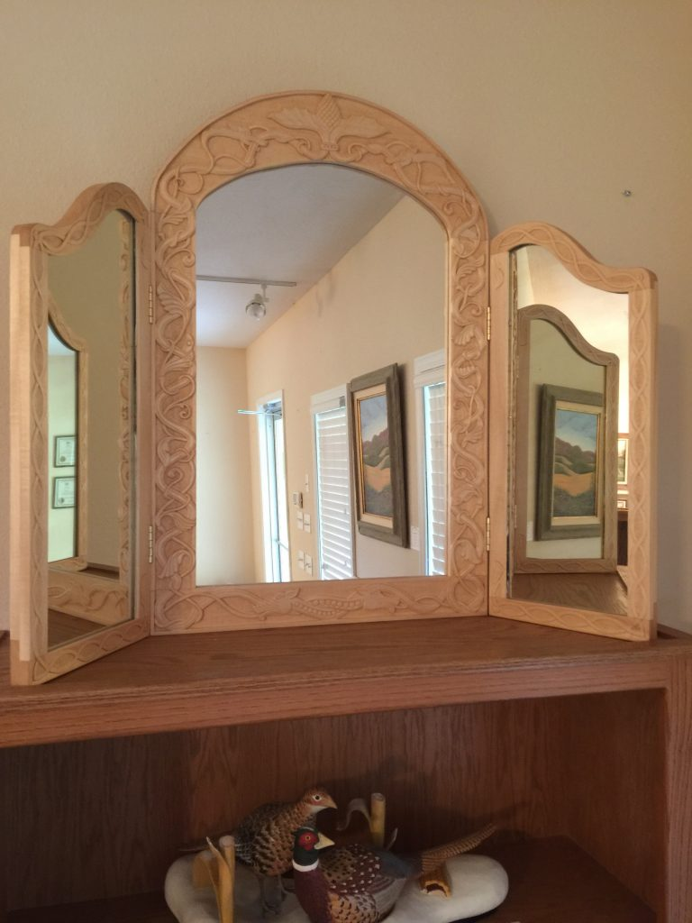 Ozarks Art Gallery | Russ Biros - Large Norwegian Style Wood Carved Mirror