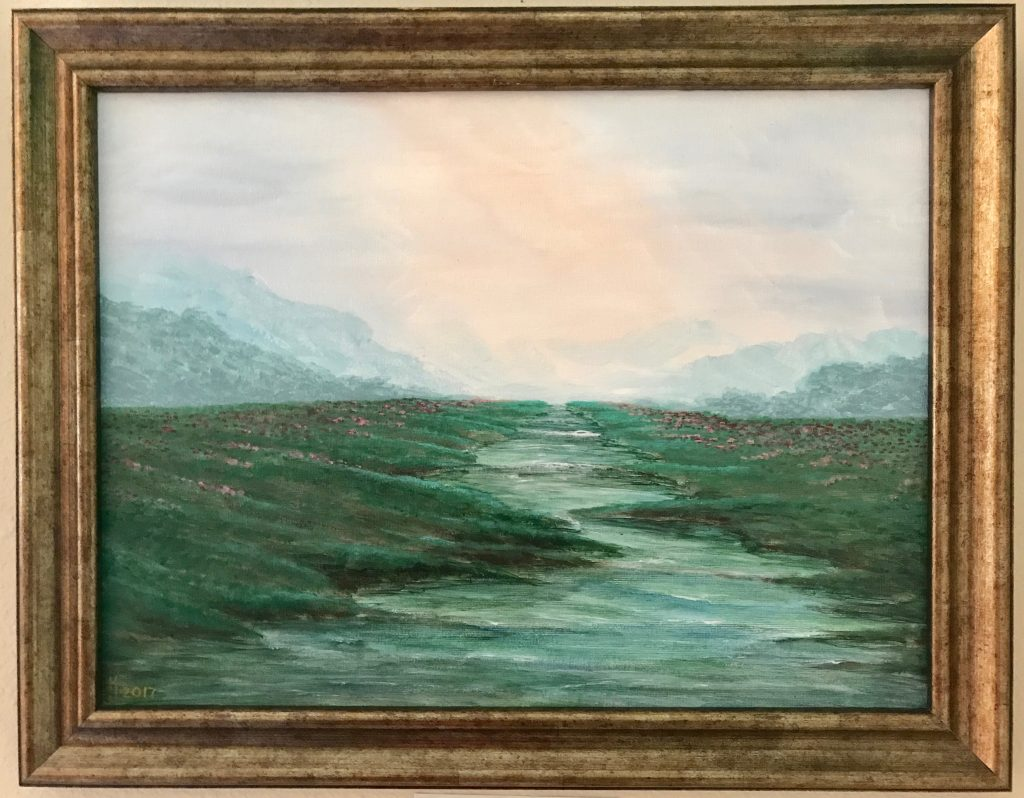 Ozarks Art Gallery | Mountain River - Original Landscape Painting by KJ Burk