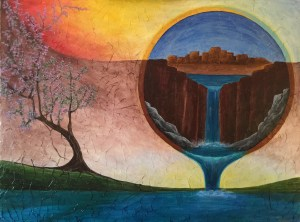 Ozarks Art Gallery | Creation ~ Original Surreal Native American Landscape Painting by KJ Burk