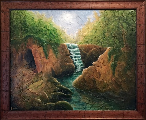 Ozarks Art Gallery | Hidden Cave - Original Heavily Textured Mixed Medium Painting by KJ Burk