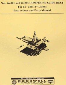 "ROCKWELL 10"" Cabinet Metal Lathe Older Operator Parts Manual | Ozark ..."