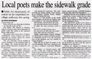 """copy of the article """"Local poets make the sidewalk grade"""""""