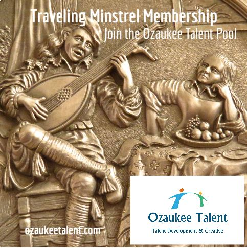 minstrels in bronze playing instruments