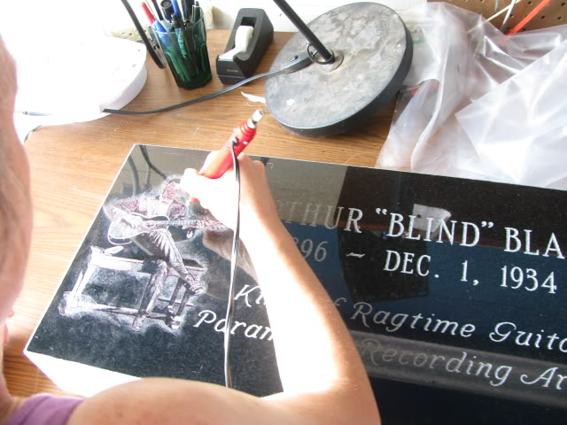 Etching the Gravestone for Ragtime Musician Blind Blake