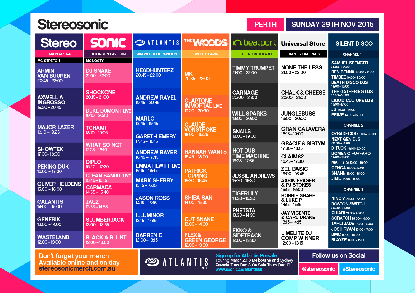 Stereosonic 2015 Set Times Perth