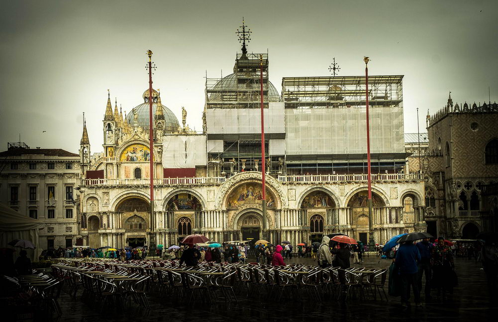 St Mark's Basilica, Venice Italy at rainy day