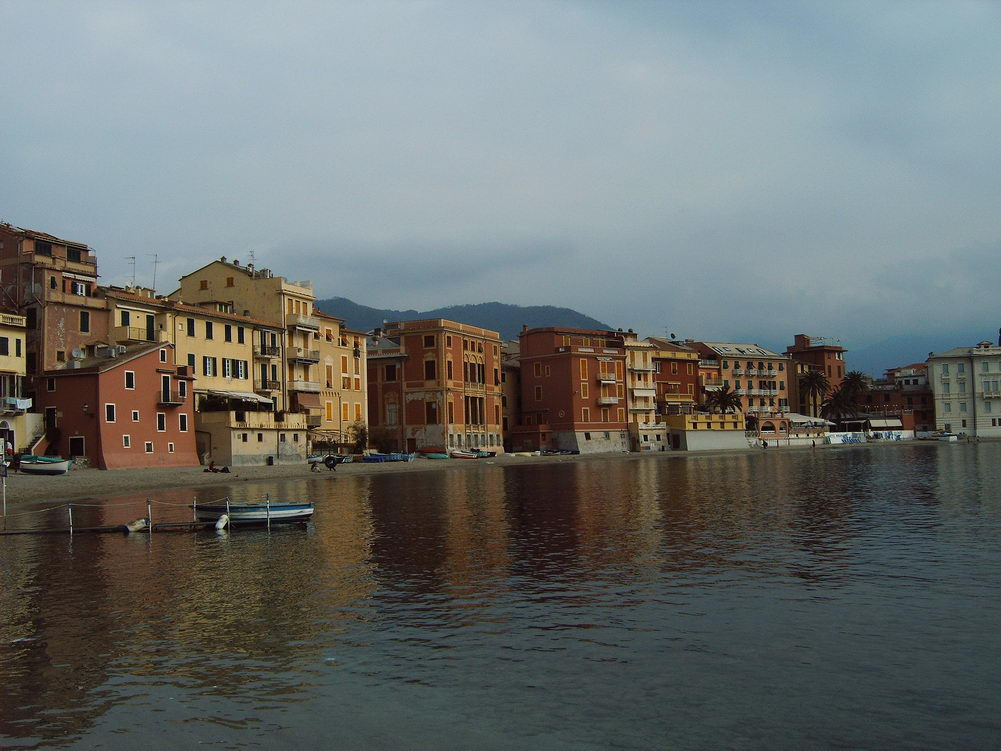 Sestri Levante Italya Sahil Deniz Su Liguria