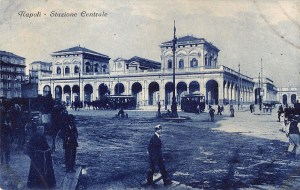 Napoli train station antique postcard