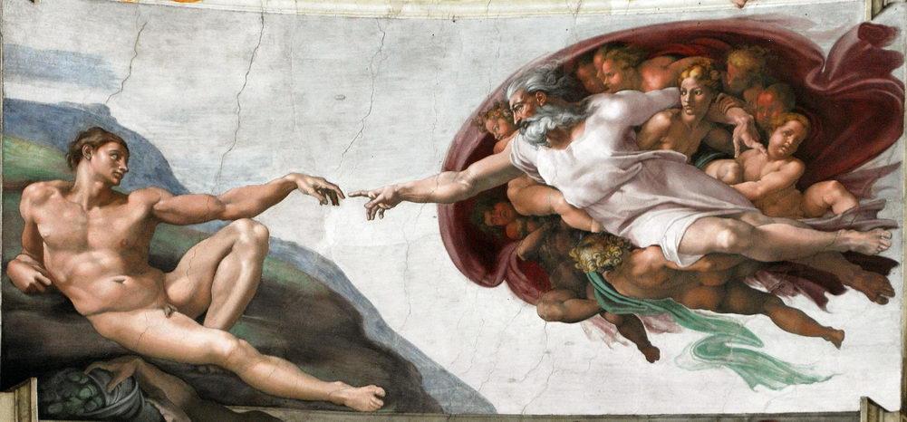 Sistine chapel Insanın Yaratılışı Tanrı Parmak Mikelanj