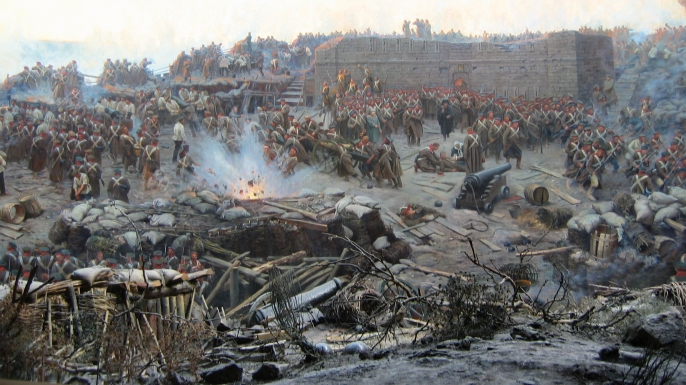 Painting of the Siege of Sevastopol.
