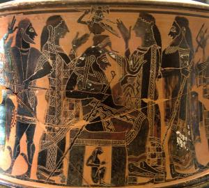 Birth of Athena. Attic exaleiptron (black-figured tripod), ca. 570–560 BC. Found in Thebes