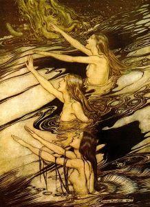 """Die Rheintöchter (The Rhinemaidens), characters in Richard Wagner's """"Der Ring des Nibelungen"""", by Arthur Rackam, 1910"""