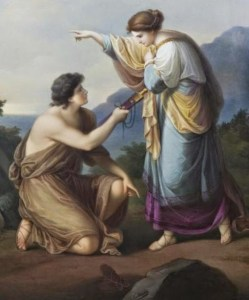 Theseus discovered his father's tokens and Aethra revealing the true identity of his father