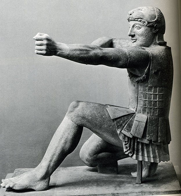 Theseus from the temple of Aphaea Athena at Aegina island,Greece, about 500 BC. Munich Glyptothek