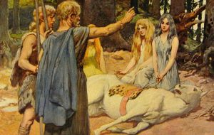"""A depiction of the """"horse charm"""" Merseburg Incantation. Wodan heals Balder's wounded horse while three goddesses sit (the incantation names Sinthgunt sister of Sunna, and Frija sister of Wolla) while Balder watches"""