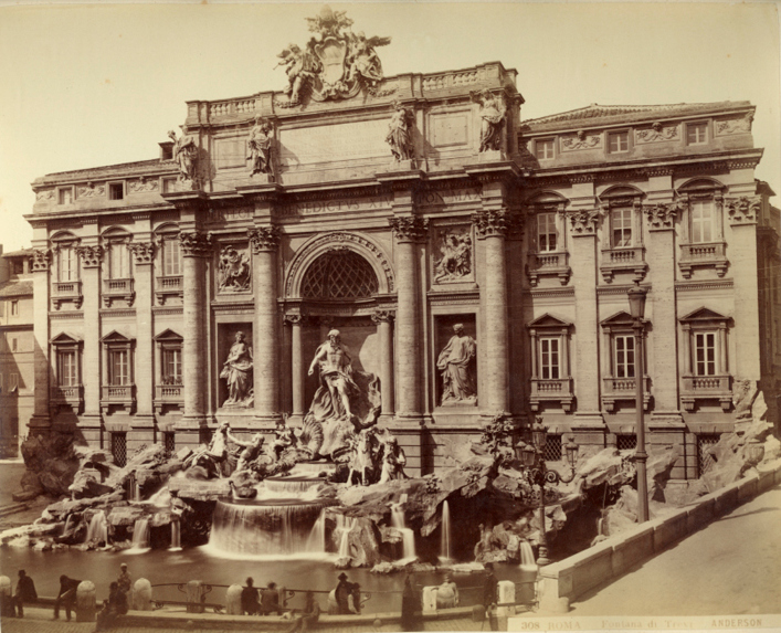 Trevi fountain, Rome, Italy (old photo)