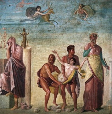 Thargelia (Greek Θαργήλια) was one of the chief Athenian festivals in honour of the Delian Apollo and Artemis, held on their birthdays, the 6th and 7th of ... This ancient painting from Pompeii, which once graced the peristyle of the House of the Tragic Poet, depicts Agamemnon about to sacrifice his daughter Iphigenia, a disturbing story first told by Homer in the Iliad, Book II. This painting, however, follows the version performed in Athens in the late fifth century B.C., the finale of Euripides's play IPHIGENIA IN AULIS