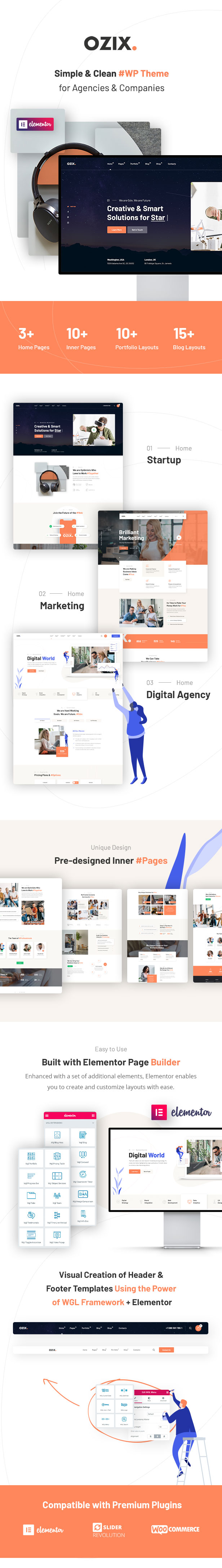 Ozix - Agencies and Companies WordPress Theme - 1