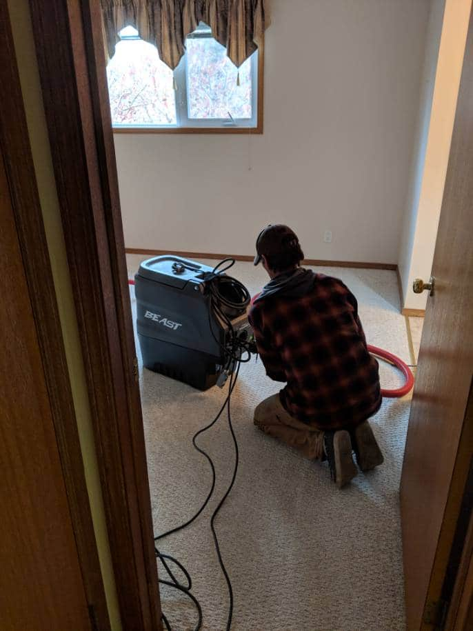Our team setting up to clean the ducts in a Red Deer home with our roto-brush technology. This is the most advance duct cleaning tool on the market.