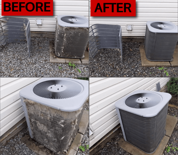 Before and after of an A.C coil cleaning in Red Deer by Ozone-FX