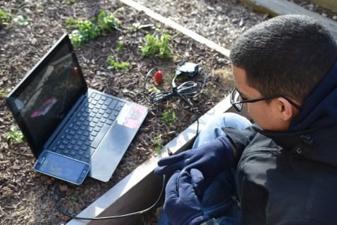 Brandon testing soil moisture sensor