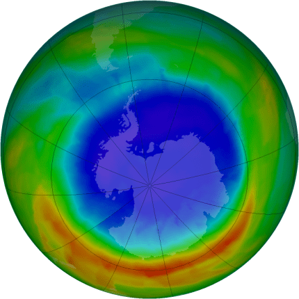 Antarctic ozone map for 17 September 2012