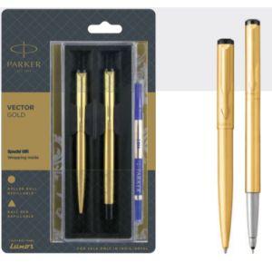 Parker Vector Gold Ball Pen + Roller Ball Pen With Gold Trim Blue