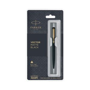 Parker Vector Matte Black Blue Ball Pen With Stainless Steel