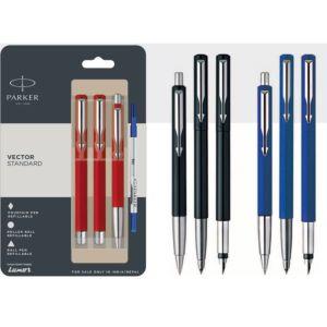 Parker Vector Standard Ball Pen + Roller Ball Pen + Fountain Pen With Stainless Steel Trim Blue