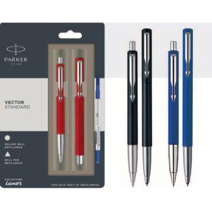 Parker Vector Standard Ball Pen + Roller Ball Pen With Stainless Steel Trim Blue