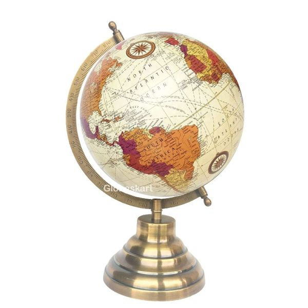 Globeskart Educational Antique Globe with Brass Antique Arc and Base