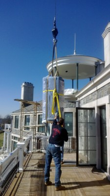 Safe craned into home on the Eastern end of Long Island, NY