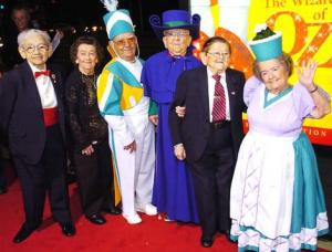 Five of the remaining nine original Munchkins from The Wizard of Oz pose together in 2005. Mickey Carroll is on the far left.