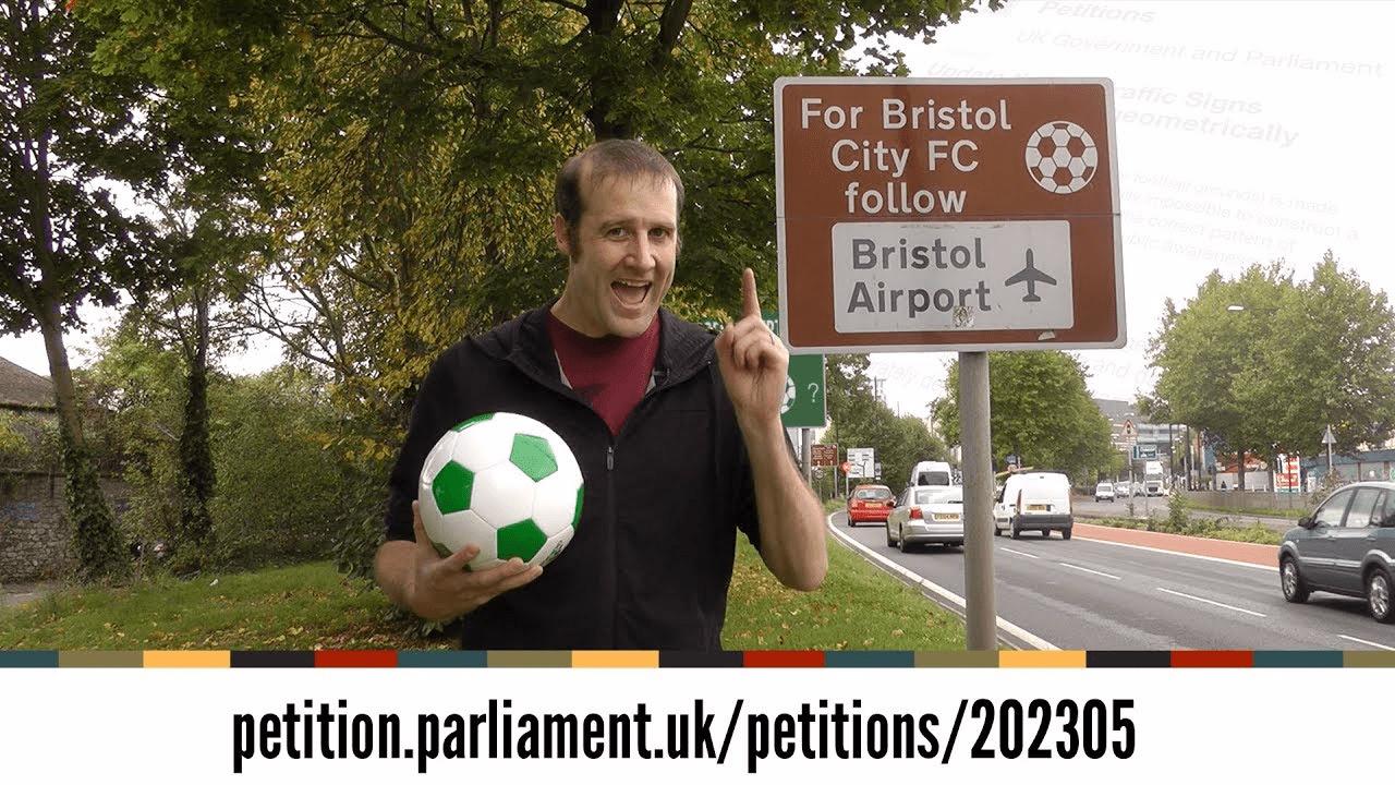 El youtuber hizo la petición al Gobierno inglés para que quiten las señales de tránsito referente a fútbol.