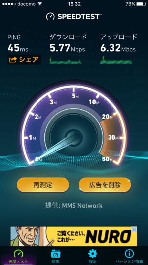 WiMAX2+速度制限時の測定結果