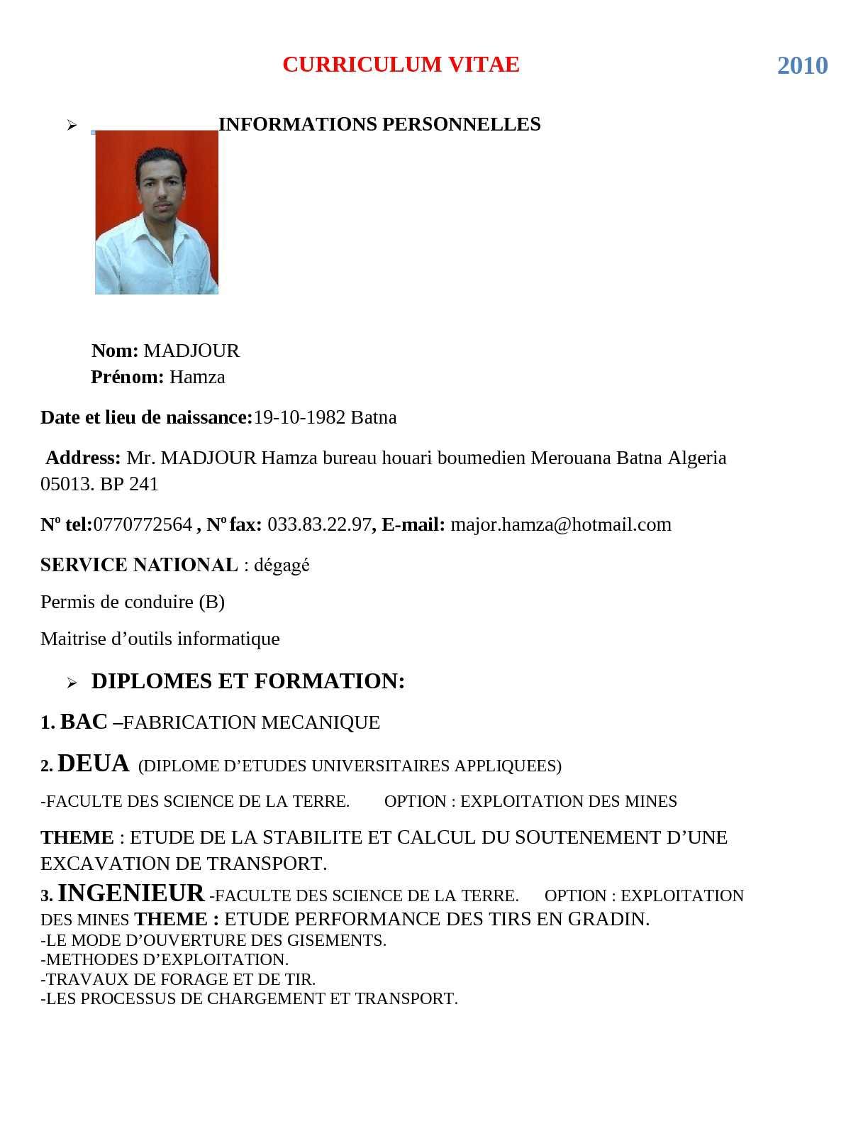 Calameo Curriculum Vitae Ingenieur Des Mines