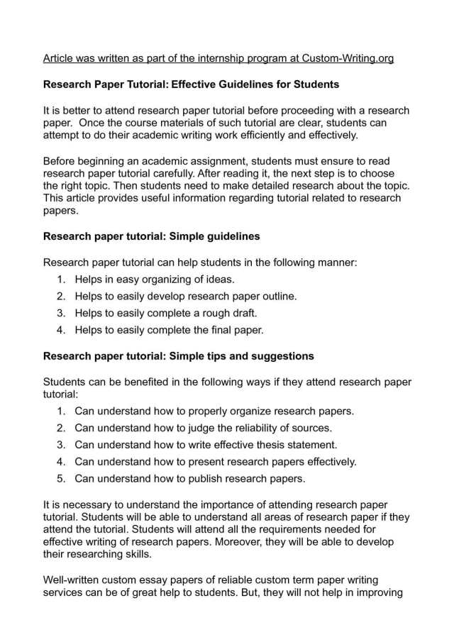 Calaméo - Research Paper Tutorial: Effective Guidelines for Students