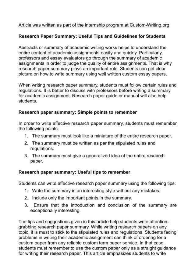 Calaméo - Research Paper Summary: Useful Tips and Guidelines for