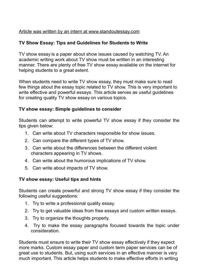 Calaméo - TV Show Essay: Tips and Guidelines for Students to Write