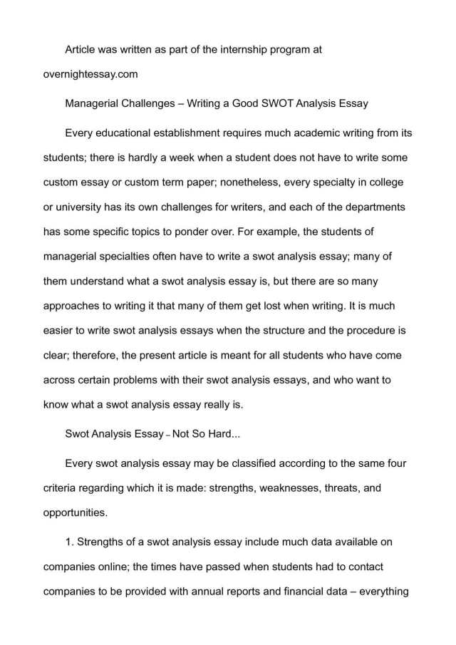 Calaméo - Managerial Challenges – Writing a Good SWOT Analysis Essay