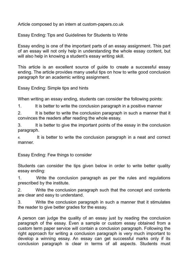 Calaméo - Essay Ending: Tips and Guidelines for Students to Write