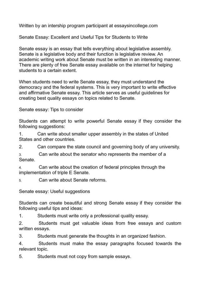Calaméo - Senate Essay: Excellent and Useful Tips for Students to