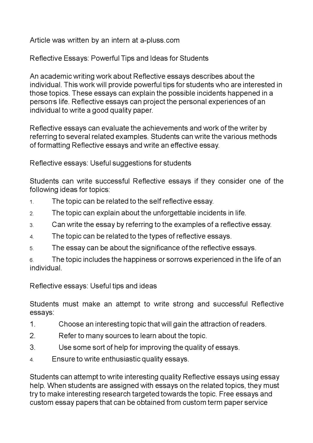 Self Reflection Essay Conclusion Tips