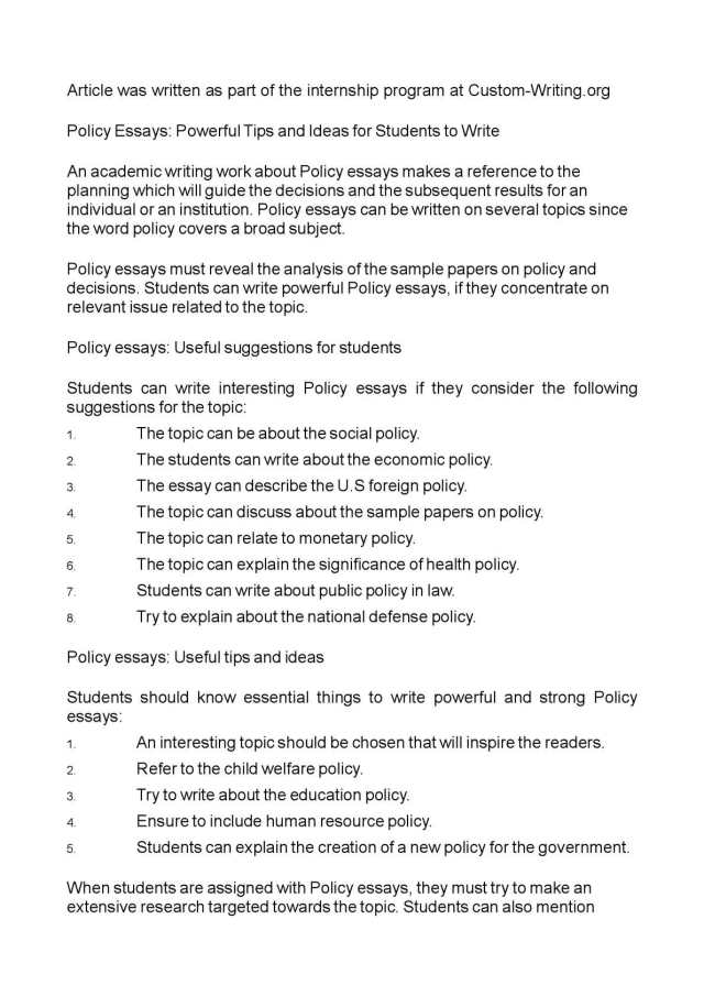 Calaméo - Policy Essays: Powerful Tips and Ideas for Students to Write