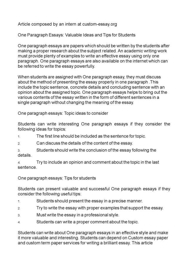 Calaméo - One Paragraph Essays: Valuable Ideas and Tips for Students
