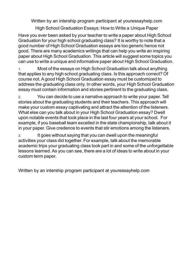 Calaméo - High School Graduation Essays: How to Write a Unique Paper
